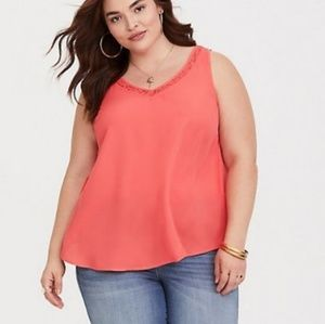 Torrid Georgette cami with lace